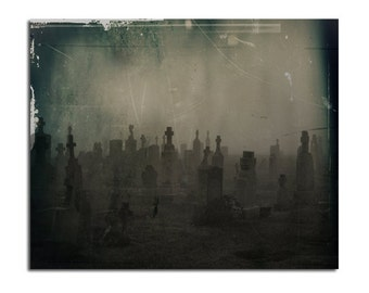 Dark Hues, Goth Decor, Cemetery, Halloween Art, Graveyard, Gothic Image, Tombstones, Aged And Grungy, Distressed - Dark Graveyard