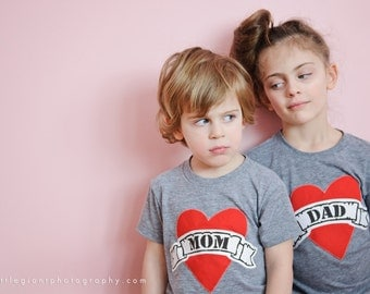 Valentine's Day shirt Father Fathers Day Mom Heart Tattoo lil bro big sis New Dads matching sibling boy girl baby dad valentines day shirt