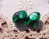 Emerald Foil Eye RARE Vintage Glass Beads