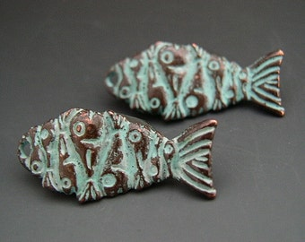 Wavy Fish Charms Mykonos Greek Copper Antiqued Green Turquoise Double Sided Unusual Design Naos