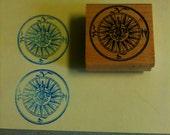 Fleur de Lis Compass used rubber stamp