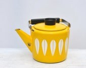 vintage catherineholm yellow enamel lotus kettle teapot