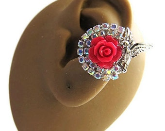 Choose Either Red, White Or Orange ALDesigns Bird On A Rose Ear Cuff
