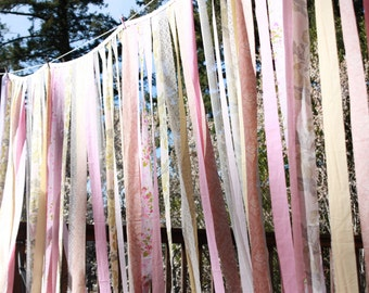 Custom Wedding Garland, Wide and Long Photo Prop, Fabric Strips, Bridal Decoration, Festive and FUN. Your colors. Made to Order.