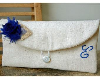 blue,black,gold gray clutch burlap purse wedding rustic shabby rose purse Personalize Bridesmaid party gift MakeUp