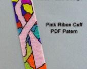 Pink Ribbon Cuff // Bracelet Pattern // 2 Drop Peyote Stitch // Seed Beads // Beadwork // Instructions