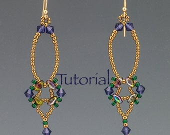 SuperDuo Beadwoven Earrings Tutorial Erte Digital Download