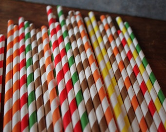 20 Camp Party Straws -- Camping -- bon fire, orange, yellow, red, brown, green