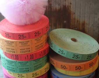 200 Count -- Carnival Tickets -- perfect for parties, scrapbooking, altered arts -- assorted