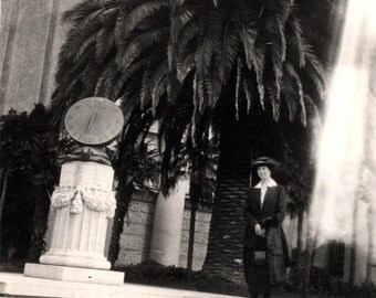 vintage photo Lady At Sundial De Young Museum San Francisco
