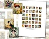 Art Nouveau Women Scrabble Digital Collage Sheet .75 x .83 in 19mm x 21mm antique postcard ephemera greeting card illustration portrait