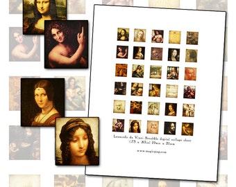 Leonardo Da Vinci Scrabble digital collage sheet .75in x .83in 19mm x 21mm Renaissance master artist fine art