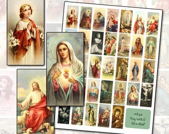 Antique Catholic Holy Cards 2 Digital Collage 1x2 domino size for altered art collage mixed media shrines 25mm x 50mm rectangle