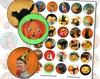 Antique Victorian Halloween 1.5 inch circle button pinback digital collage sheet 38mm jack o'lantern