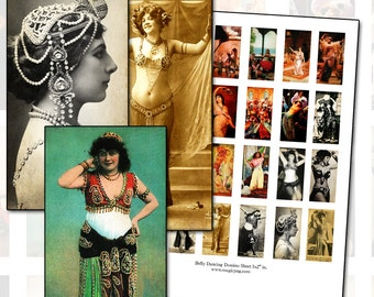 Bellydance Domino digital collage sheet 1x2 inch 25mm x 50mm for altered art and jewelry crafts