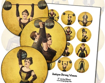 "Antique Circus Strong Women digital collage sheet two inch 2"" circle 50 mm 50.8 mm"