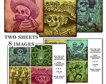 """Day of the Dead 4x4"""" coaster Color digital collage sheet  Mexican Mexico Día de los Muertos All saints Day All Souls Day 101mm x 101mm"""