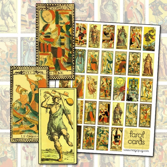 Antique Tarot Card Digital Collage Sheet for domino jewelry and altered art 25mm x 50mm 1x2 in
