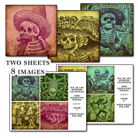 "Day of the Dead 4x4"" coaster Color digital collage sheet  Mexican Mexico Día de los Muertos All saints Day All Souls Day 101mm x 101mm"