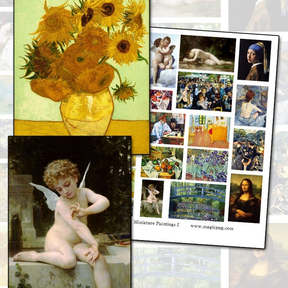 Miniature Dollhouse Paintings Great Masterpieces of Art digital collage sheet prop props fine art 1:12 scale 1/12