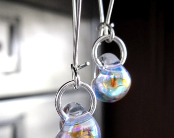 Bubble - Clear Glass Drop Earrings, Iridescent Rainbow Shimmer Finish - Petite Lampwork Glass Bead Earrings with Silver, Modern Jewelry