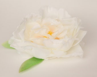 Silk Artificial Flower - Soft Silk Peony in White - ITEM 0834