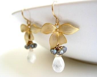 Rainbow Moonstone Earrings - June birthstone, gold flower, black white, bridesmaid, gemstone drop, labradorite cluster - Dogwood Flower