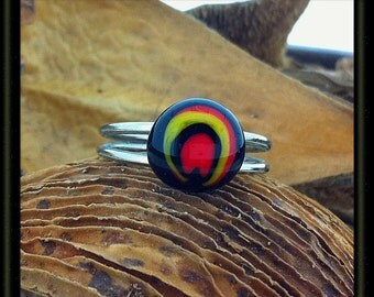 Fused Glass Cabochon Adjustable Size Ring  Circular Swirls of Black Red and Yellow Flame Double Layered Silver Band Gift Boxed