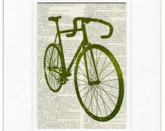 Green Bike Print on book page