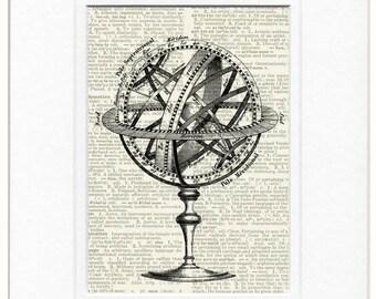 ancient celestial globe artwork print