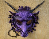 MADE TO ORDER Great Purple Dragon Mask... Original handmade leather mask