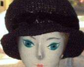 Black Straw Hat Bucket Style Bell Shape Cloche Hat Steam Punk Style Vintage  1960s Vintage