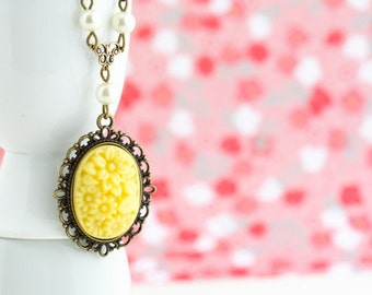 Yellow Floral Cameo Necklace - Canary Yellow Pendant - Brass Necklace - Ivory Pearls - Vintage Style Necklace - Buttercup Yellow Jewelry