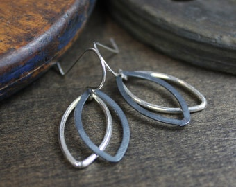 Sterling Silver Earrings - Modern Oxidized Marquise