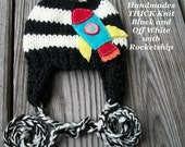 Unisex Knit Chunky Black and Off White Kids ROCKETSHIP Earflap Hat, Made in the USA, Earflap hat,boys and girls clothing, hospital outfit