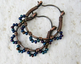 Ruffle Bottom Hoops - wire wrapped seed beaded antiqued copper hoops - these cuties in iris blue mix