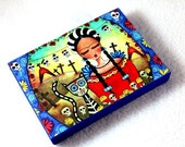 Art Print on Wood Block, Frida and Cat Day of the Dead Art Print, ACEO ATC Artist Trading Card, Mexican Art, Red Blue
