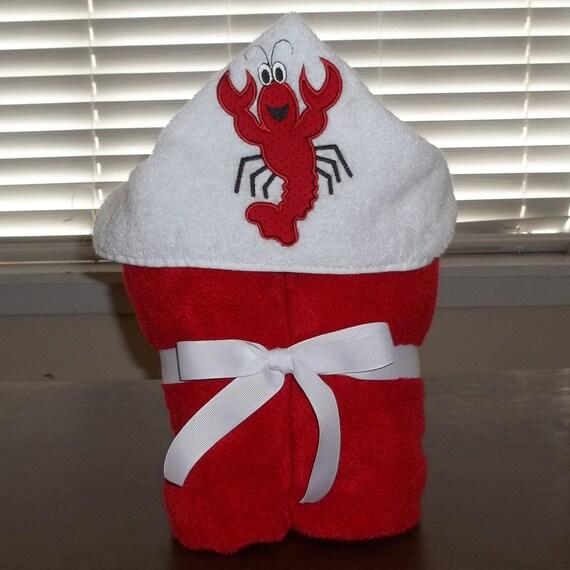 Towel hoodie - Personalized Crawfish Hooded Towel - Beach Towel with Hood - Pool Cover up - Baby hoodie - Birthday Present for Toddlers