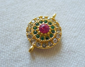 SPECIAL Clear and Green Crystal Rhinestone Accented Round Button Connector, 22K Gold Plated
