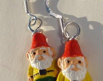 Pierced Earrings Gnome Earrings Fantasy Gnome Earrings petite ceramic gnomes from Peru pierced dangle hand made earrings