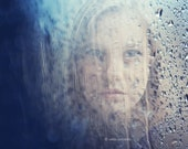 Out of the Rain - 6x6 Fine Art Photography Print - a portrait of a girl in the rain - original signed photo print - VaidaPhoto