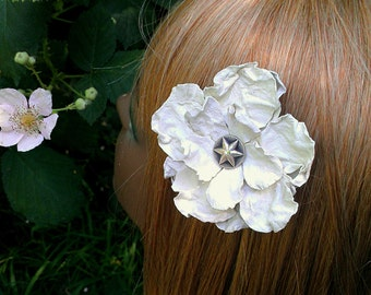 Leather White Flower Barrette Fascinator with Vintage Button