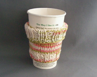2 in 1 Coffee Cup Cozy Handknit Mug Sleeve Pastels Green Tangerine Off White Ombre Premiun Cotton