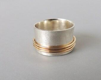 Sterling Gold Spinner Ring Silver Gold Fiddle Ring SR122