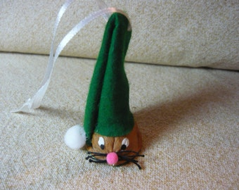 Walnut Mouse Green Christmas Elf Ornament