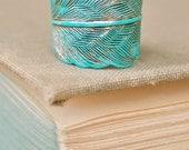 Bohemian feather ring. aqua patina,adjustable,feather ring. Tiedupmemories