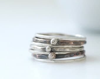 Mixed Metal Rings, Metalwork Rings, Silver, Copper, Brass, Recycled Silver, Stacking Rings, Rustic Rings, Set of 7, MADE TO ORDER