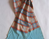 Scarf - color blocked in vintage robin's egg blue and cream houndstooth and fuzzy orange plaid, with your choice of fringe gimp trims