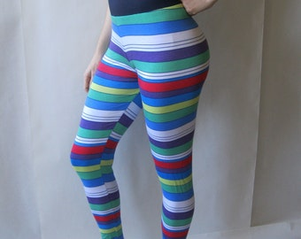 Leggings - by AC Clothing and Bags - ready made - bright striped ultrasoft lightweight knit, medium (8-10)