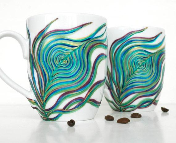 Peacock Feather Coffee Mug - Hand Painted Porcelaine Mug
